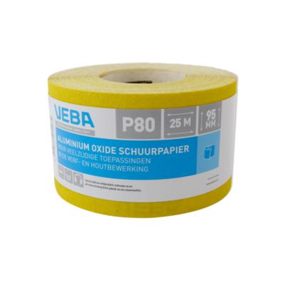 Veba schuurpapier rol 95mmx25mtr Aluminium oxide P80