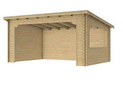 Paviljoen met lessenaarsdak 372x322cm onbeh.