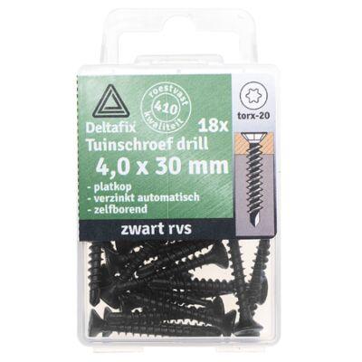 tuinschroef drill PK TX-20 RVS 4.0x30 ZWART 18st