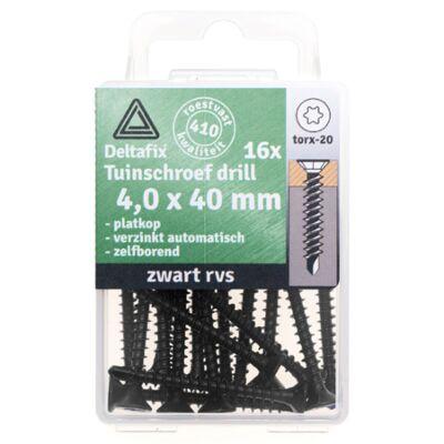 tuinschroef drill PK TX-20 RVS 4.0x40 ZWART 16st