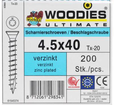 Woodies scharnier 4.5x40 VK T20 VZ 200st