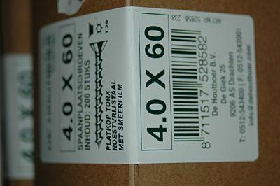 Spaanplaatschroef  torx  RVS 4.0x60  200 stuks