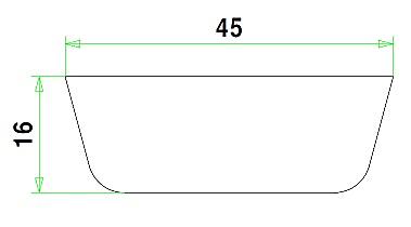 Meranti koplat schuin volh 16x45mm 335cm