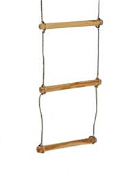 Touwladder met houten sporten