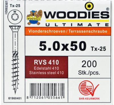 Woodies vlonder 5x50/30 T25 RVS410 200st