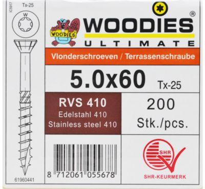 Woodies vlonder 5X60/35 T25 RVS410 200st