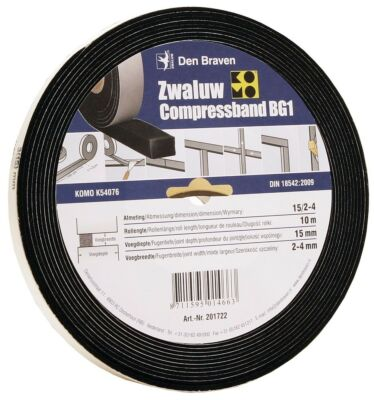 Den Braven zwaluw compressband 20/4 20x20 mm 8M/rol