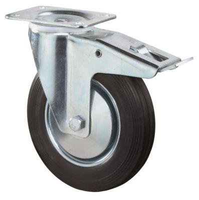 zwenkwiel 160mm rubber zwart m/rem