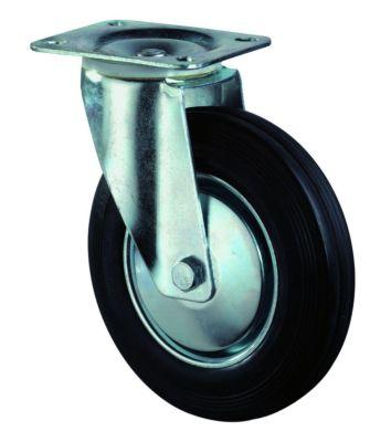 zwenkwiel 200mm rubber zwart